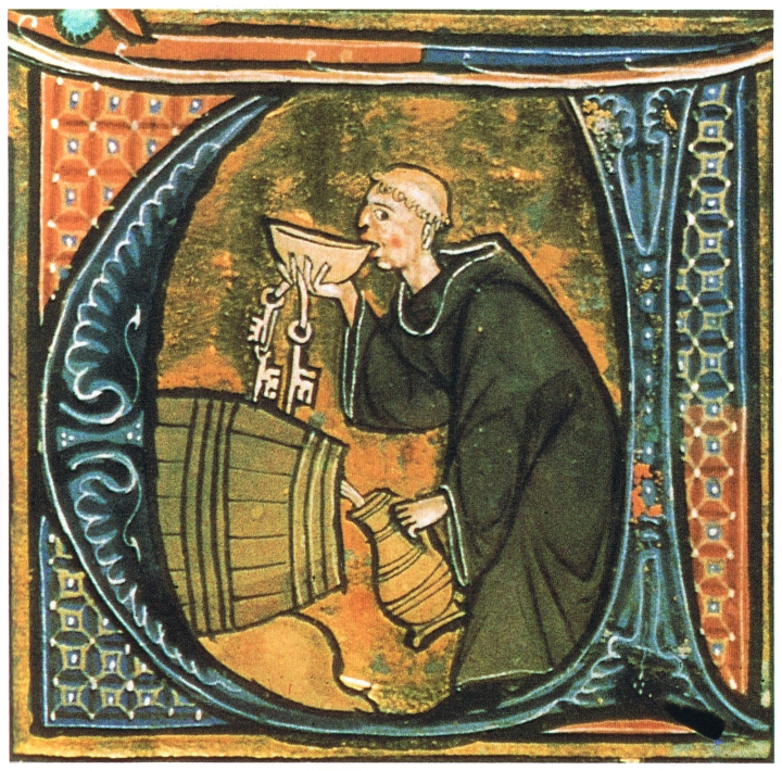 Monk Enjoying Some Wine
